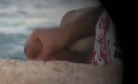 Caught jerking off on the beach