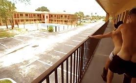 Horny latin guys fucking in a motel balcony