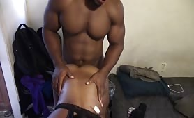 Super hot muscle black dude fucks a slut
