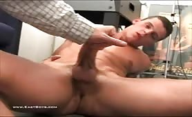 Delicious european guy with a huge cock gets handjob