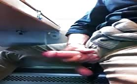 Stroking my cock in a train