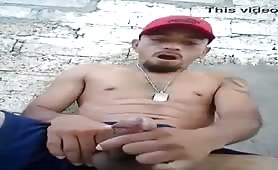 latin thug masturbating on the street