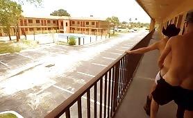 two dude fucking on Motel balcony
