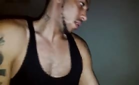 sexy latin thug banging while watching porn