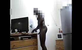 Showing off Big fat cock to delivery man