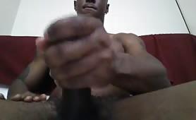 black guy watching latin porn and masturbating