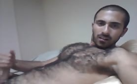 hairy Str8 Arab Wank and Cum Eating