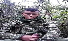 str8 colombian soldier masturbating in the woods