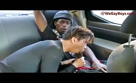 Black dude fucks asian in driving car