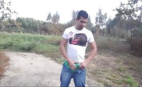 Horny latino masturbates on the outskirts of the city