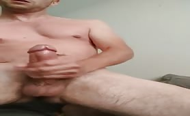 huge cock and big balls guy shooting a huge load