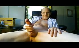 Horny mature men stroking his cock