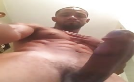 Sexy horny black dude shows off his bbc