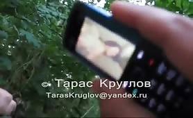 Russian soldier get's boner watching phone porn.