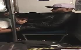 Horny gay friend eating my cock in the subway
