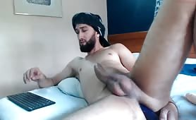 hot arab with a massively thick cock rides a big dildo shoots huge load