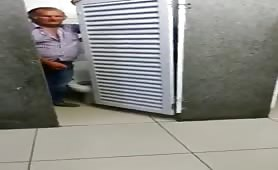 Old Man jerking off in public toilet and cruising with young big cock