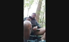Nigga stroking and cumming in woods