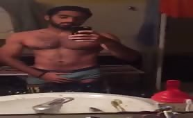 Egyptian guy stripping and showing off his body and cock