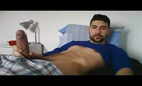 Sexy Stud jerking off his huge fat cock on live show