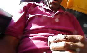 Grandpa jerking off in public bus