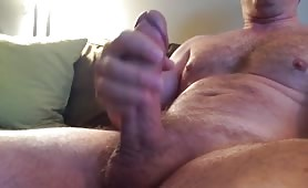 White str8 dad jerks his fat cock.
