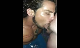 Big dick hanging getting suck at pool party