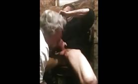 Grandpa pays a str8 guy to suck his cock while he watches porn