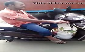 Horny mature arab guy masturbates while riding his motorcycle