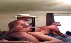 Hot cowboy daddy fucking his sexy boy toy