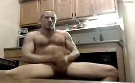 Amazing Hot Daddy Jerks off in the kitchen