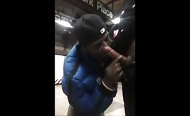 Getting a blowjob from a homeless in the subway station